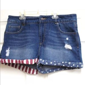 Mossimo Jeans Patriotic High Rise Denim Shorts 12